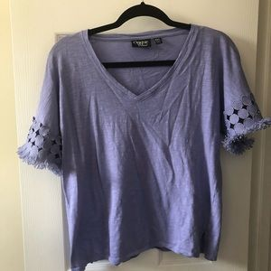 Purple top with decorative sleeves